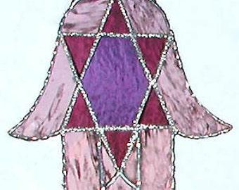 Stained Glass Suncatcher - Jewish Hamsa Design - Handcrafted Stained Glass Sun Catcher - Mauve & Purple Glass - G-9577-M