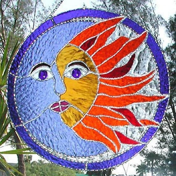 Stained Glass Suncatcher Sun And Moon By StainedGlassDelight