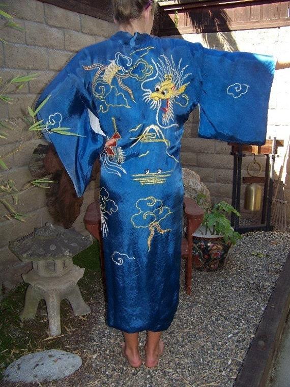 Vintage Embroidered Silk Kimono Style Dragon Robe From 1950's