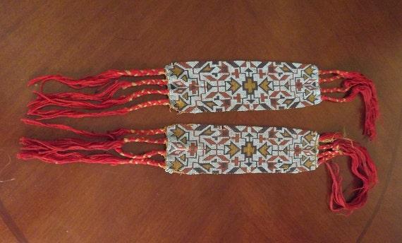 Native American Dance Regalia Beaded Garters 1920's