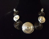 black and silver scroll wire 2 piece set
