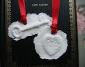 Jane Austen cast paper heart and key lavender sachets