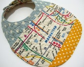 REVERSIBLE blue and yellow NYC subway map QUILTED baby bib