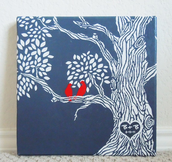 valentines day gifts, Personalized Wedding Gift Canvas Print  Family Tree with love birds -- 10X10  -- Heart -- Gallery Wrapped