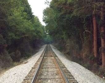Next Stop...A New Adventure - Print 4x6 - Art, Photography, Paper Goods, Train, Tracks, Railroad, Georgia