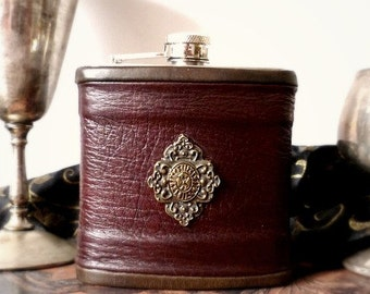 Burgundy Leather Flask with Bronze Diamond