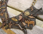 Milagros Leather Charm Necklace, Day of the Dead, Spirts Halloween Jewelry, OOAK