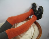 Cashmere Leg Warmers Thigh High Over the Knee Knit Footless Boot Socks Orange Autumn Rust A635