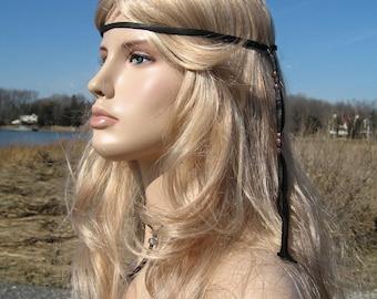 Black Leather Headband Hair Wrap, BOHO Hippie 70's style Glass Beaded  Z106