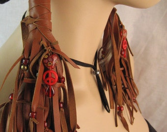 Hair Wrap Extensions,Fringe Leather Vest Ponytail Holder Peace Sign Beaded, BOHO Hair Jewelry