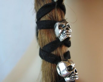 Skull Beaded Hair Jewelry Ponytail Holder Hair Wrap Silver Skeleton Beads Punk Biker Goth  Z106