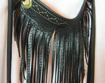 Black Leather Fringe Bib Choker Necklace, Black Biker Rocker Club wear Clothing, Black Leather  Neck Cuff Scarf