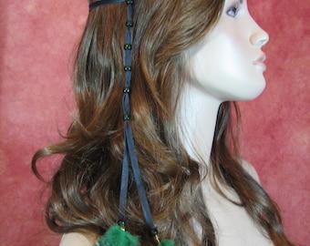 1 BOHO Feather Headband Hair Extension, Hippie Beaded Leather Wrap Ponytail Holder