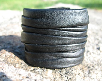 Black Leather Cuff Bracelet,  Mens /  Ladies Wrap Wrist Band Steampunk Goth Wristband