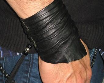 Unisex Black Leather Cuff Bracelet, Urban Warrior Jewelry Wrist Band Wristband Wrap