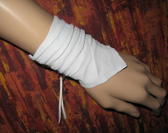 White Leather Cuff Bracelet Leather Jewelry Wristband Wrist band Leather Wrap Bandana