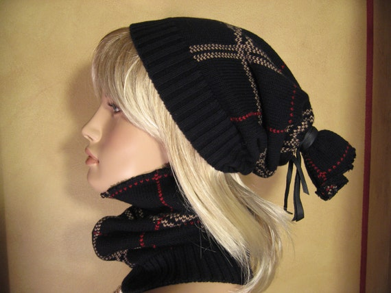 Black Scottish Plaid Slouchy Beanie Tube HAT