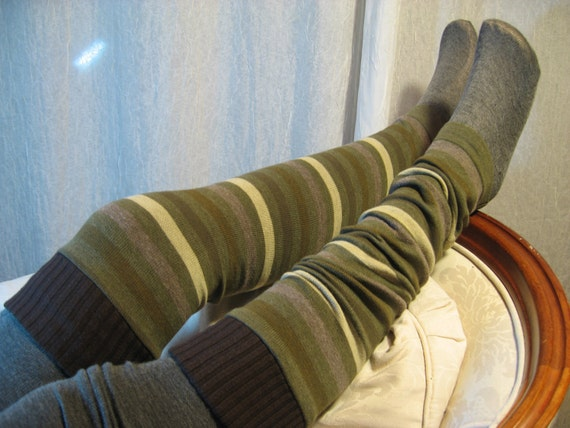 Thigh High Over the Knee Leg Warmers,  Footless Boot Socks Olive Green Strip B659