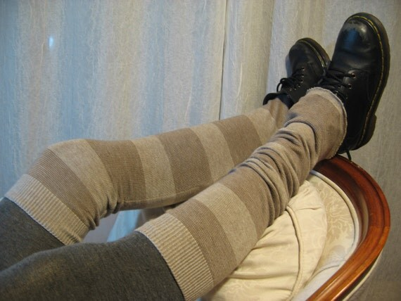 Wide Stripe  Thigh High Over the Knee Leg Warmers, Footless Boot Socks Tan Brown A623