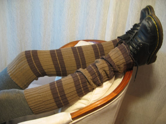 Cozy Over the Knee Thigh High  Leg Warmers Rib Knit, Footless Boot Socks Brown A627