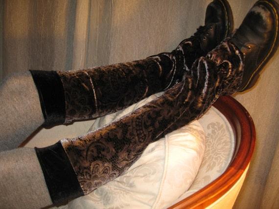 Black Lace Print Velvet Knee High Leg Warmers Boot Socks A657