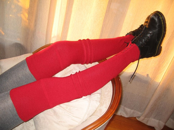 RED Wool Thigh High  Leg Warmers Knit Footless Boot Socks Over the Knee A637