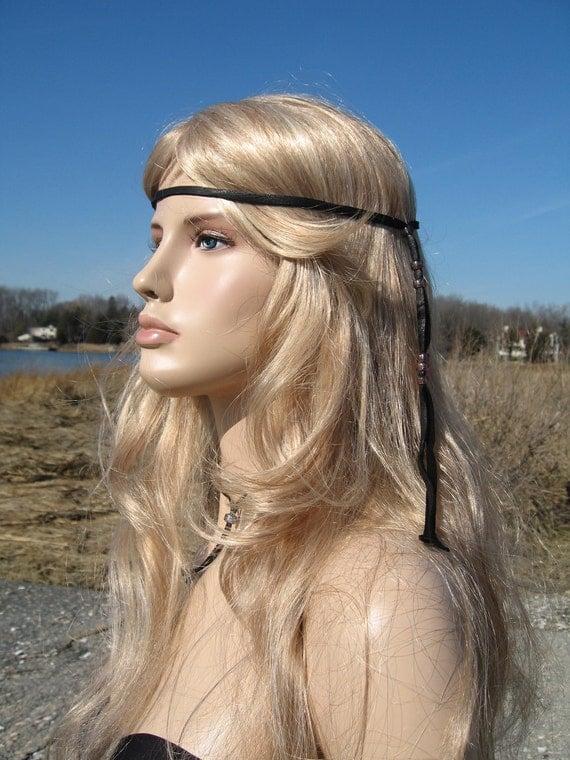 BLACK Leather HEadband Hair Wrap, BOHO Hippie 70's style