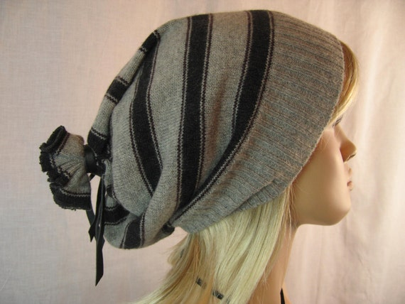 Oversized Slouchy Beanie Hat, Charcoal Grey StripeMens Womens Tam