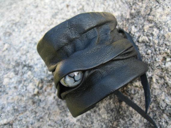Black Leather Corset Cuff Bracelet, Beaded Wrap Wrist Band  OOAK