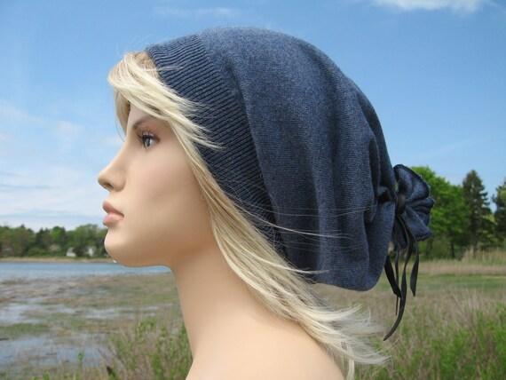 Musician Style Slouchy Hat, Summer Weight Wool Denim Blue Oversized Beanie Tam Mens Ladies