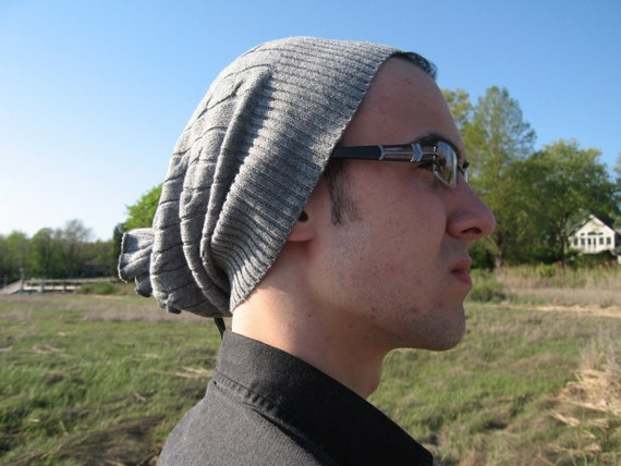 Men's Urban Slouchy Beanie Hat, Cable knit Grey Oversized  Tam
