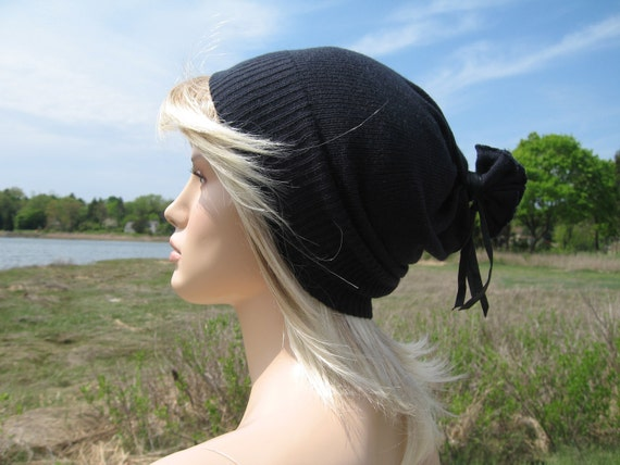 Teen Youth Beanie Hat, Super Soft SlouchyBlack  Navy Blue Unisex Tam
