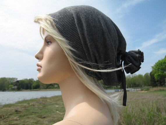 Musician Mens Slouchy Beanie HAT Charcoal Grey Silk Cashmere with Leather Wrap Tie