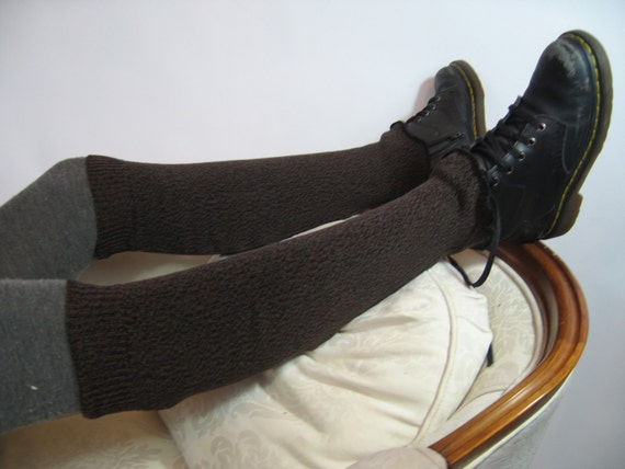 Boot Socks Knee High Leg Warmers Brown Black Thick Warm Sweater Knit A626