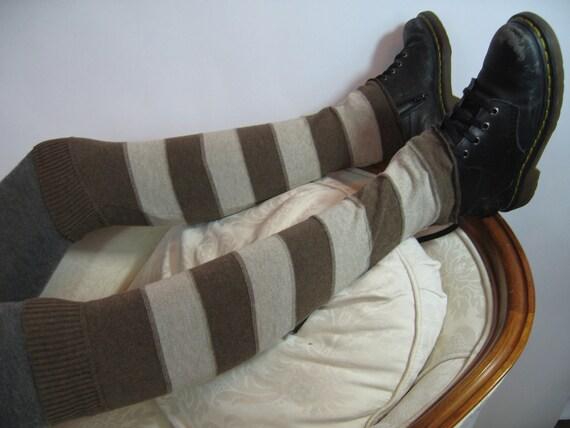 Striped Thigh High Boot Socks, Over the Knee Leg Warmers, Lightweight cotton knit B626