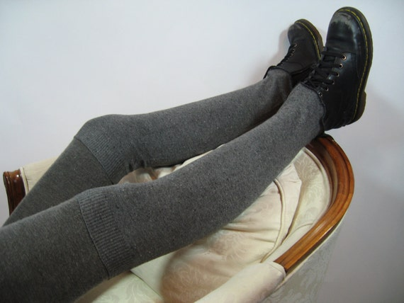 Black/ White Silk & Cashmere Leg Warmers Thigh High Over the Knee Knit Boot Socks