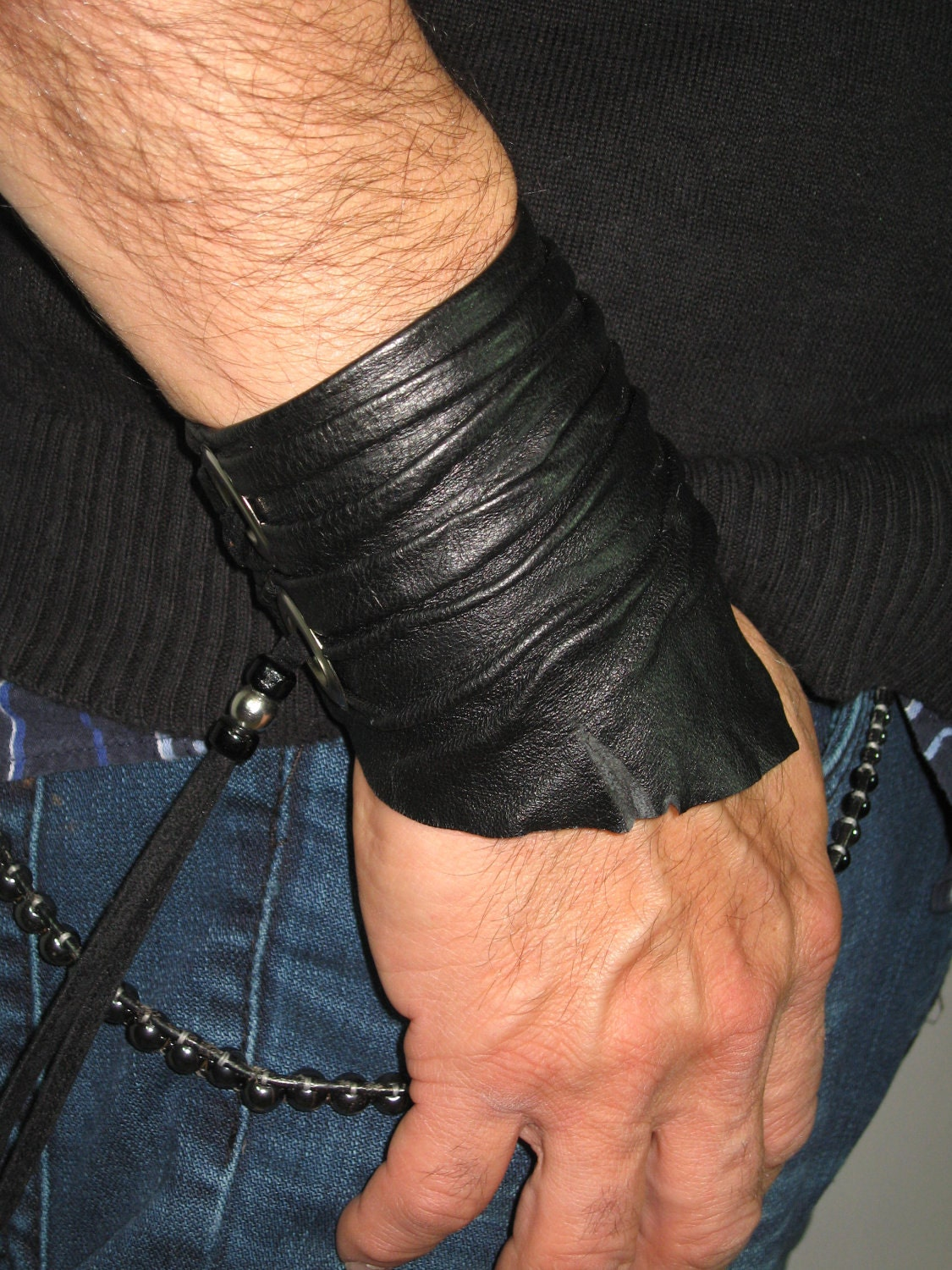 Sculpted Mens Leather Cuff Bracelet Leather Wrist Band