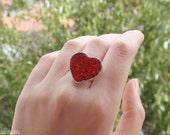 Red Heart Ring Glitter Ring Lovely Gift
