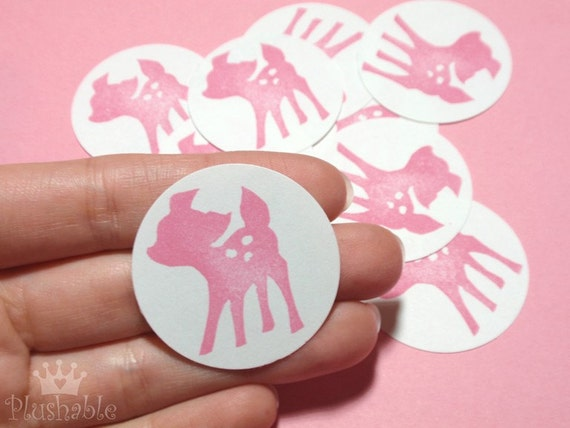 Fawn hand stamped stickers in pink