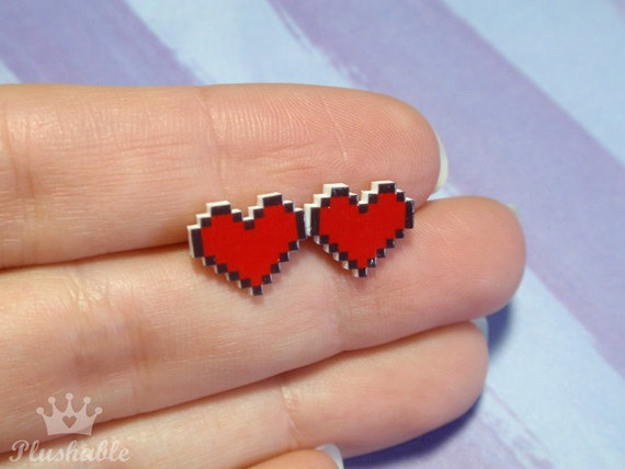 Pixel heart earrings studs Valentines Day