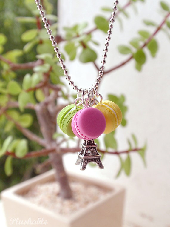 French macaron necklace with Eiffel tower charm