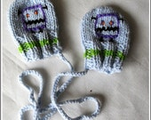Baby boys mittens -  for 0-3 months baby boys - Knit mittens - Mittens for newborns -Newborn Blue mittens - Newborn mittens