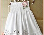 White dress, Baby girl white dress, White dress for girls, Natural white cotton dress for baby girls, Summer dress
