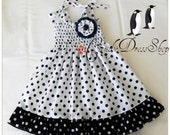 White and  Navy Blue polka dot dress for girls - Navy blue and white Frilly dress - (Available in sizez 12m to 6T) Spring dress-Easter dress