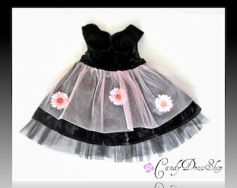 Black velvet Dress, Black and Pink dress, Black party dress, Black flower girl dress, Halloveen dress,for 3T baby girl, READY TO SHİP