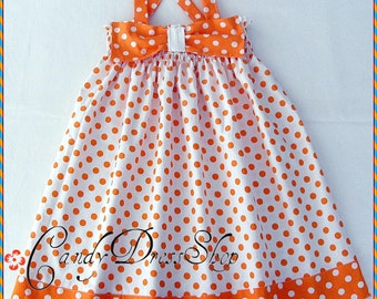 Orange and white polka-dot dress for little girls, Spring dress, Summer dress, Orange Bow dress, (Available in size 6 month to 4 years)