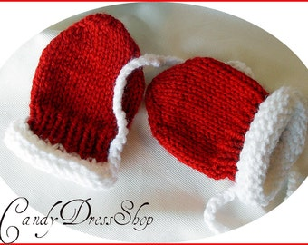 Santa mittens for babies, Baby red gloves, Knit Christmas gloves, Unisex red baby mittens, Hand-knit red mittens for baby,  Baby gift