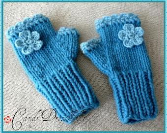Flowered wrist warmers, Turquoise Blue mittens for little girls, Girls blue wrist warmers,Turquoise fingerless gloves - Girls blue gloves
