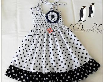 White and navy blue polka-dot dress for girls, Navy blue and white Frilly dress, Baby white polka-dot dress, Spring dress, Easter dress