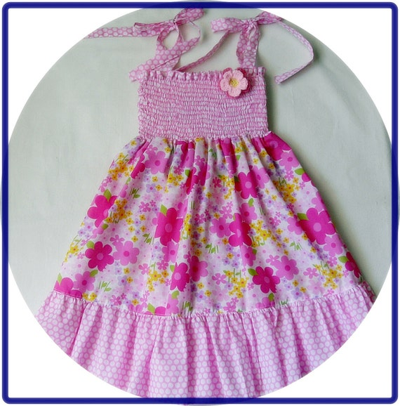 SALE-Pink Candy Dress with spring flowers for 5T-6T - Floral Patterned Dress - Girl Ruffle Dress